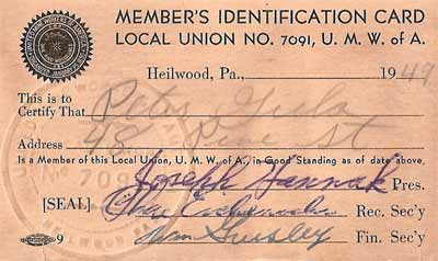 Union membership card for the Heilwood Union #7091 of the UMWA
