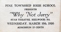 Ticket from a 1926 performance at the Star Theatre (second floor of the Town Hall).