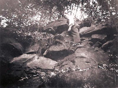 Willie Betsa at Two Pipe Rocks, circa 1942.