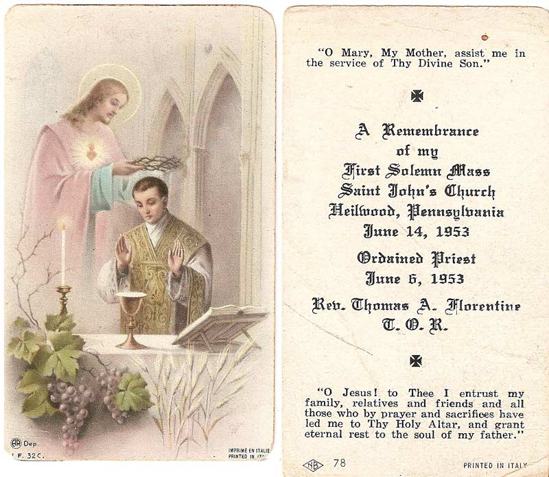 First Solemn Mass of Rev. Thomas Florentine, former resident of Heilwood, 1953