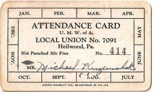 Attendance card for members of the UMWA Local #7091
