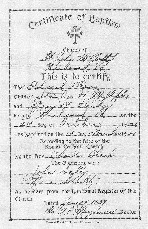 1939 record of a baptism performed by Father Black in 1926.