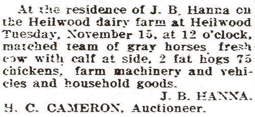 Advertisement for the J.B.Hanna auction
