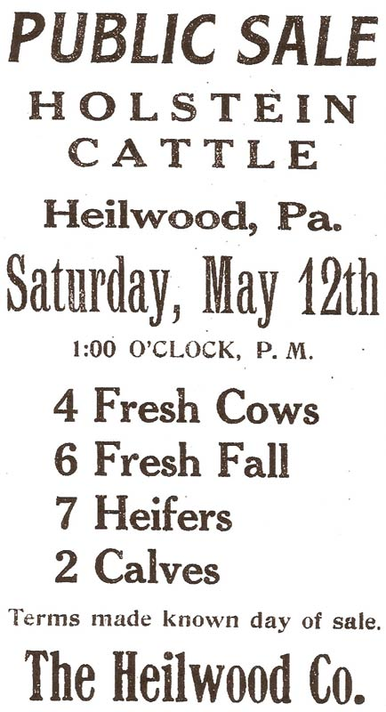 Newspaper ad for the auction of Heilwood Dairy cattle