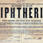 Diphtheria notice posted on an affected Heilwood home in 1939