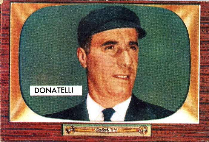1955 Bowman baseball card of Augie Donatelli