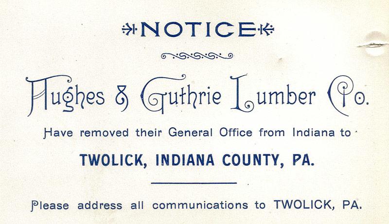 Hughes & Guthrie Lumber relocation notice