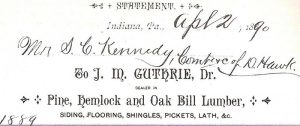 J.M. Guthrie letterhead, dated 1890