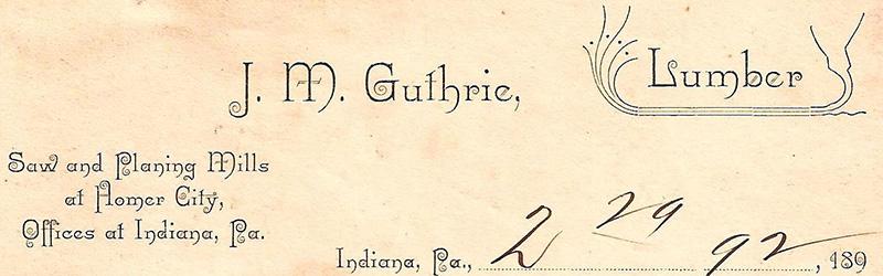 J.M. Guthrie Lumber letterhead, 1892