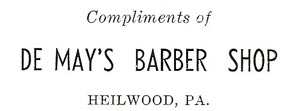 1942 Advertisement for Demay's Barber Shop