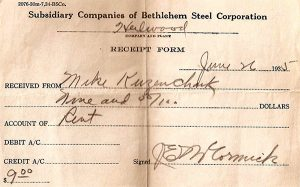 Rent receipt from the Bethlehem Steel Company (1935)