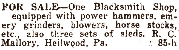 Newspaper advertisement for the sale of the Heilwood blacksmith shop.