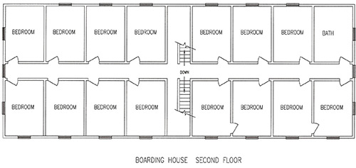Floorplan for the second story of Boarding House #1.