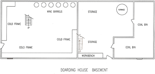 Floorplan for the basement of Boarding House #1.