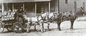 Beer wagon outside the first Heilwood Company Store, which had been converted to a restaurant.
