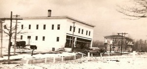 Delivery trucks outside the Heilwood Company Store