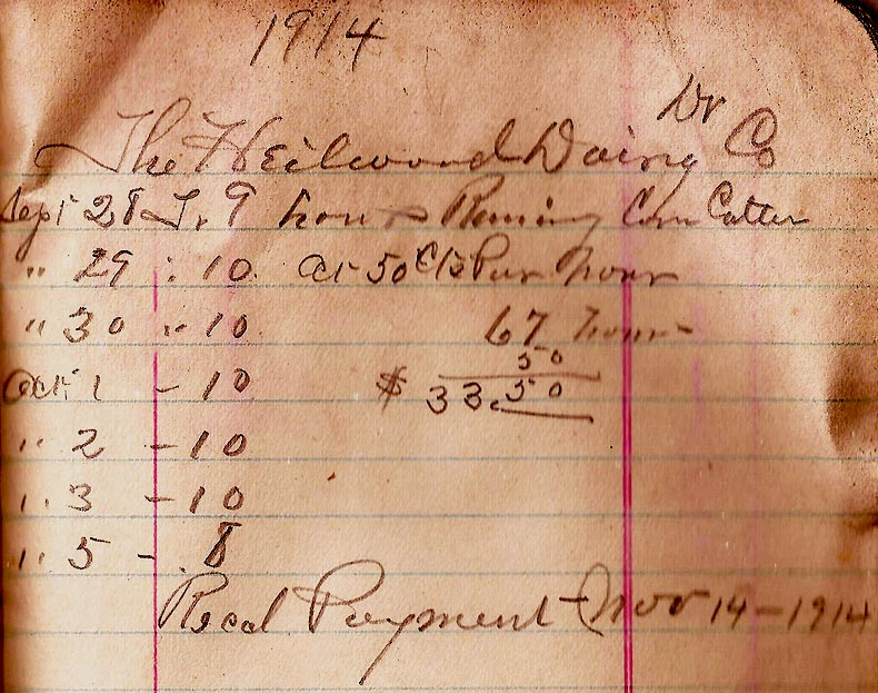 several scans of paid bills that the Heilwood Dairy paid R. D. Holmes for thrashing of grain and running corn cutter.