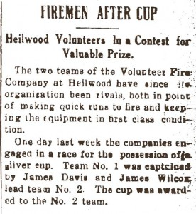 1913 newspaper account of the Heilwood volunteer fire company competition.