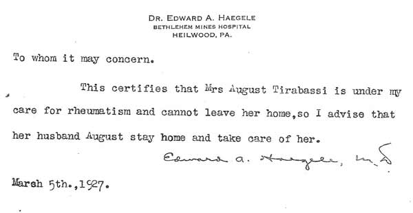 Note written by Dr. Edward A. Haegle in 1927