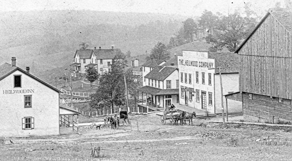 Photo of central Heilwood from circa 1908, showing (L-to-R): The Heilwood Inn; the first Heilwood Company Store and Post Office; the Livery Stable