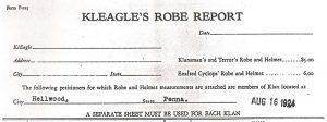 Order form for five robes and helmets for Heilwood KKK members.