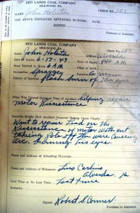 1947 accident report from the Redlands Coal Company.
