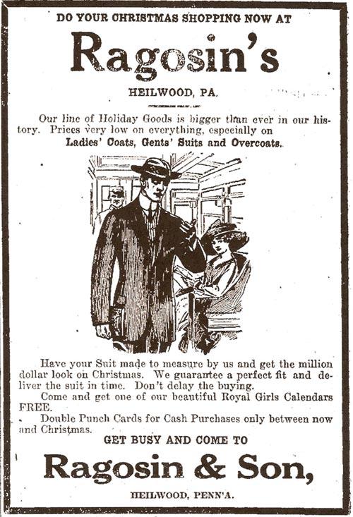 1913 newspaper ad for Ragosin's store