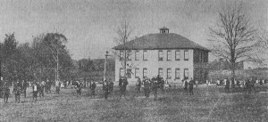 Heilwood school building with bell tower, circa 1916