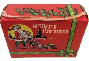 Christmas candy box/suitcase with woven handle