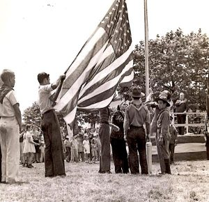 Heilwood Boy Scouts raising the flag at the Honor Roll dedication ceremony in 1942.