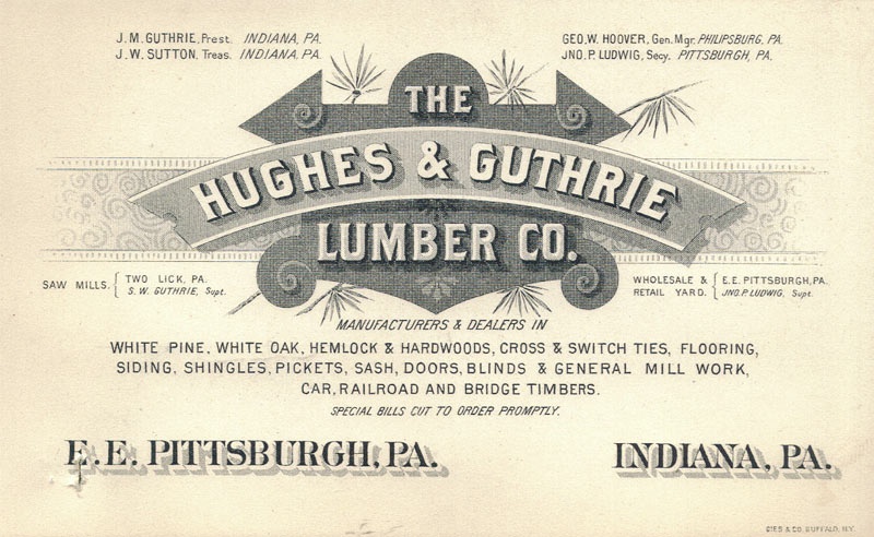 Business card for The Hughes & Guthrie Lumber Co.