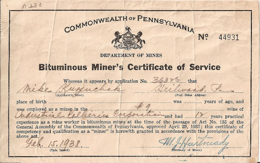 Certificate of Service from Industrial Colleries (1938)