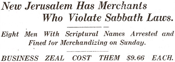 "Newspaper headline about the ""Sunday sales"" scandal in New Jerusalem"