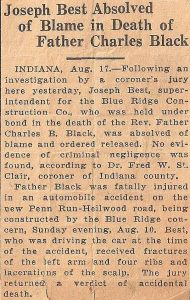 Newspaper clipping concerning the inquest held after Father Black's death.
