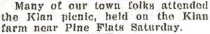 August 19, 1925 newspaper account of a KKK picnic held on a farm near Pine Flats.