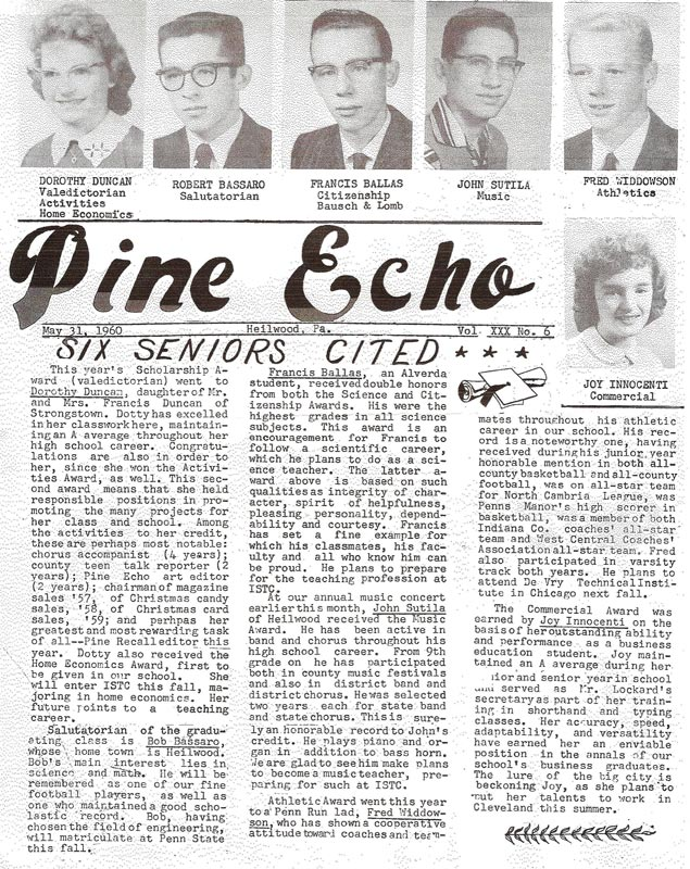 Final issue of the Pine Echo (1960)