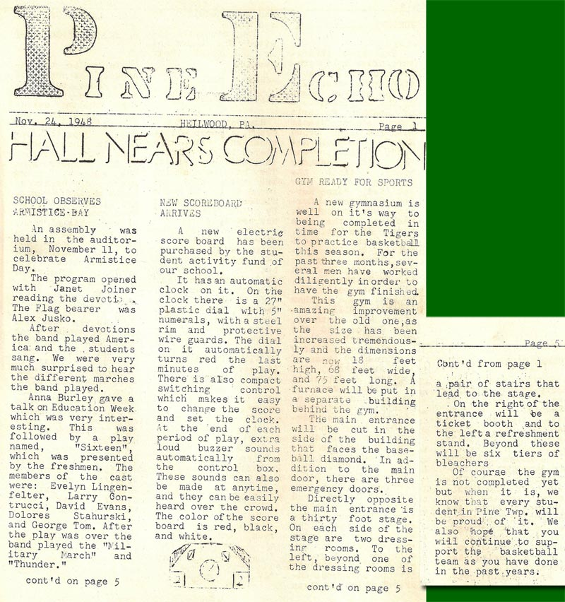 1948 issue of the school newspaper The Pine Echo