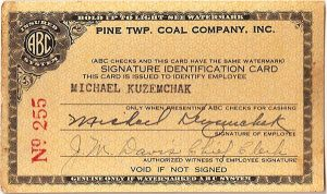 Signature identification card from the Pine Township Coal Company