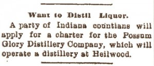 1904 newspaper article regarding a proposed Possum Glory Distillery, which evidently never opened.