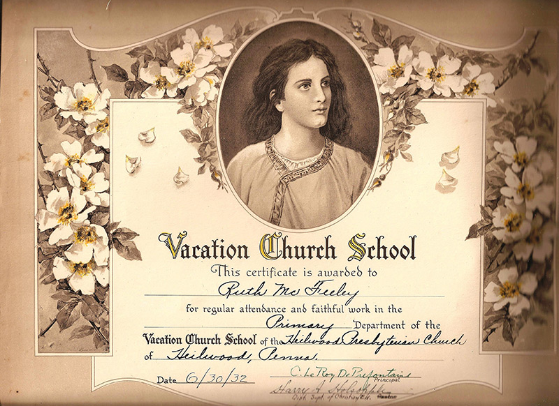 1932 Vacation Church School certificate