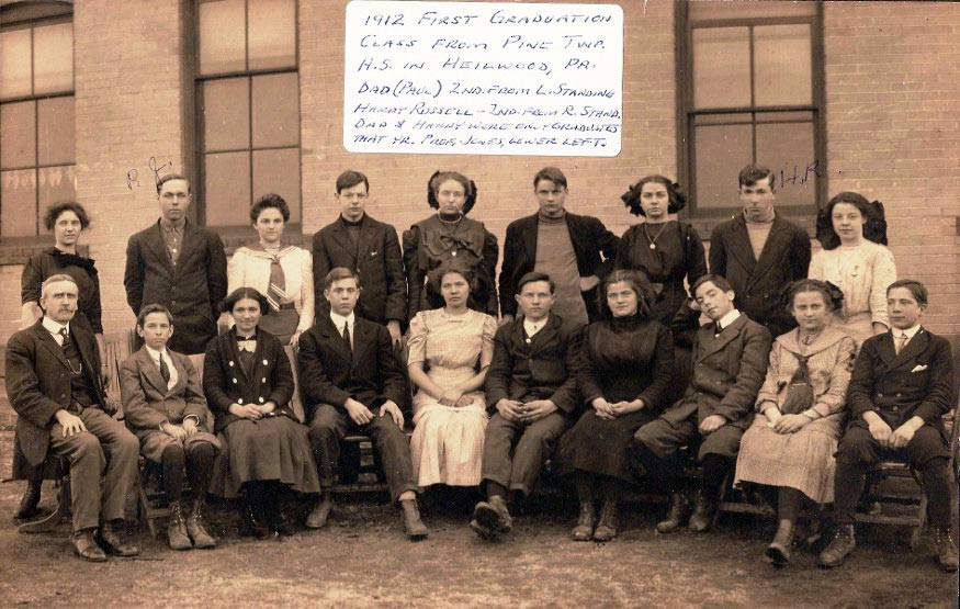 1912 photo of the high school, including the first two graduates