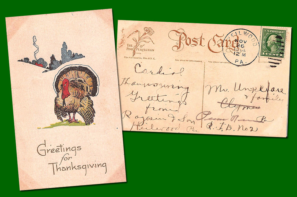 Thanksgiving postcard sent by North Heilwood businessman David Ragosin