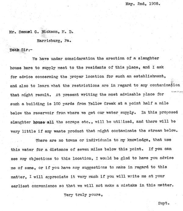 May 2, 1908 letter from Mine Superintendent Harry P. Dowler to Dr. Samuel G. Dickson.